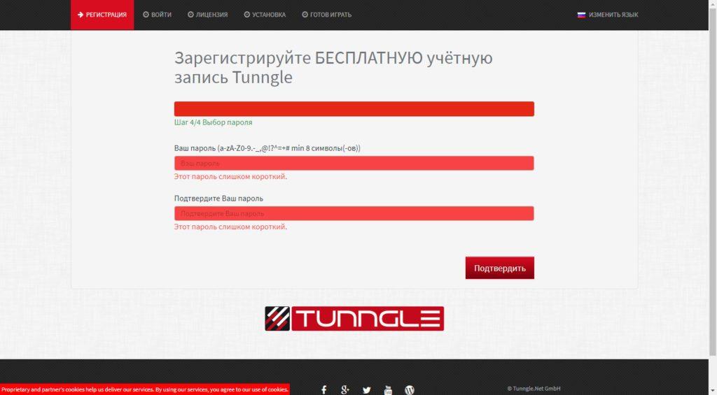 Ввод пароля для аккаунта Tunngle